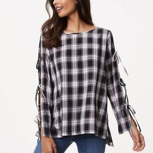 LOFT Plaid Tie Sleeve Tunic Top